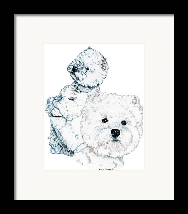 West Highland White Terrier Framed Print featuring the drawing West Highland White Terriers by Kathleen Sepulveda