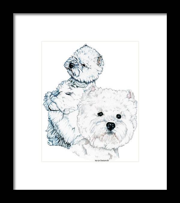 West Highland White Terrier Framed Print featuring the drawing West Highland White Terriers by Kathleen Sepulveda