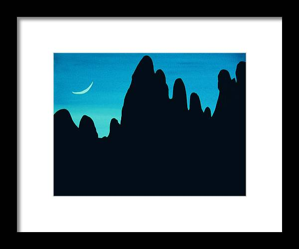 24 Inch Night Landscape Framed Print featuring the painting West by Linda Powell