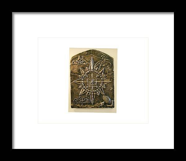 Compass Framed Print featuring the relief West Meets Southwest Compass Rose by Thor Sigstedt