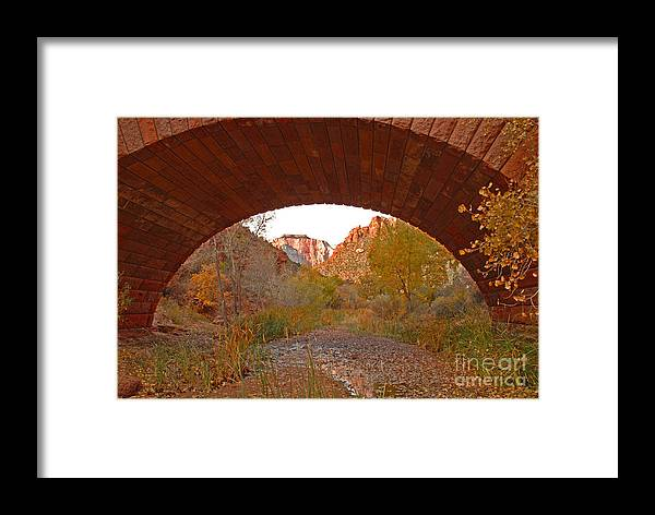 Utah Framed Print featuring the photograph West Temple From Pine Creek Bridge by Dennis Hammer