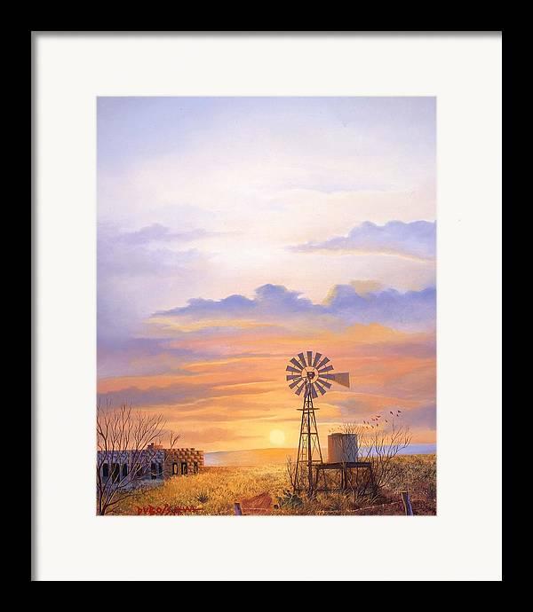 Windmill Framed Print featuring the painting West Texas Sundown by Howard Dubois