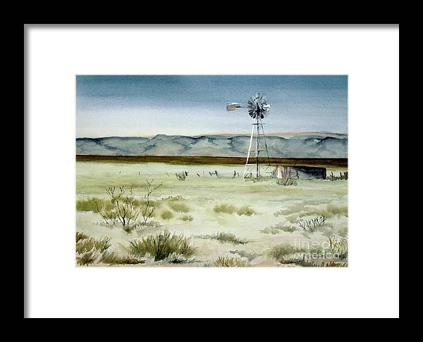 Windmill Framed Print featuring the painting West Texas Windmill by Karen Boudreaux