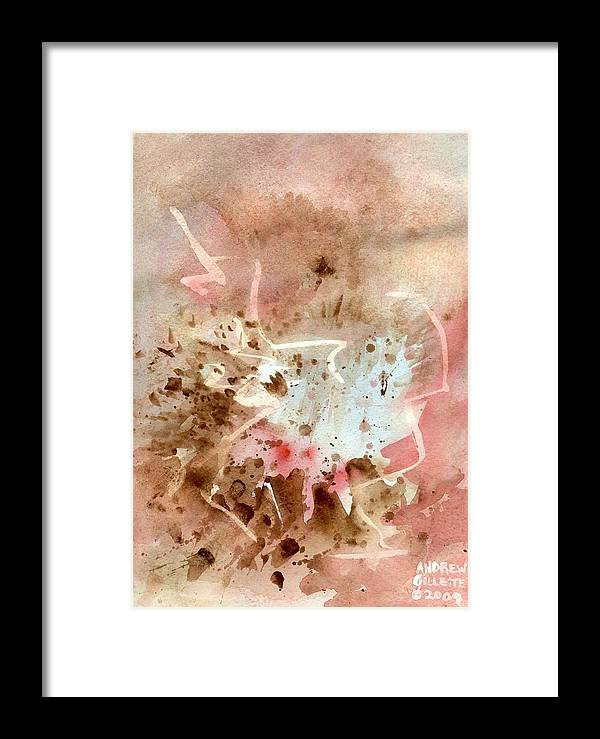 Western West Southwest Cavern Rocky Mountain Rugged Earth Cave Abstract Watercolor Brown Red Framed Print featuring the painting Western by Andrew Gillette