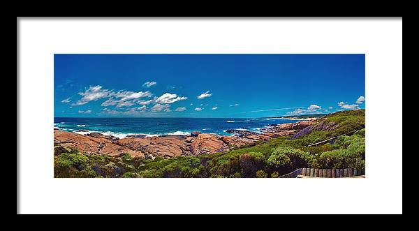 Busselton Jetty; Western Australia; Beach Panorama; Margaret River; Southern Hemisphere; Waterfront; Framed Print featuring the photograph Western Australia Beach Panorama Margaret River by David Zanzinger