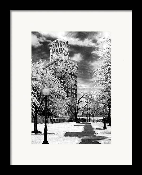 Western Auto Kansas City Framed Print featuring the photograph Western Auto In Winter by Steve Karol