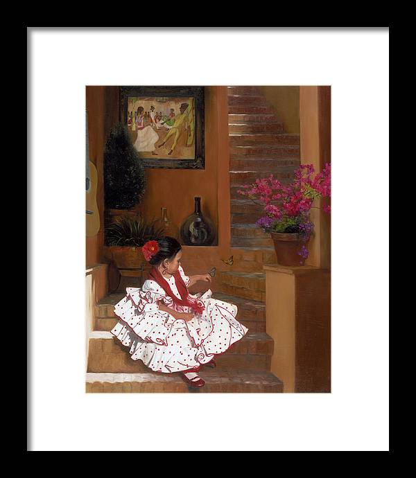 Mexico Framed Print featuring the painting Western Grace of Good Cheer  Mexico  from The Three Graces of the West by Anna Bain