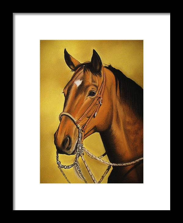 Horse Framed Print featuring the pastel Western Horse by Lucy Deane