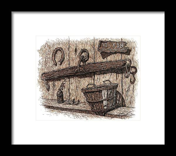 Western Framed Print featuring the drawing Western Memories by Larry Prestwich