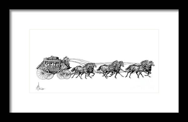 Pencil Framed Print featuring the drawing Western Stagecoach by Murphy Elliott