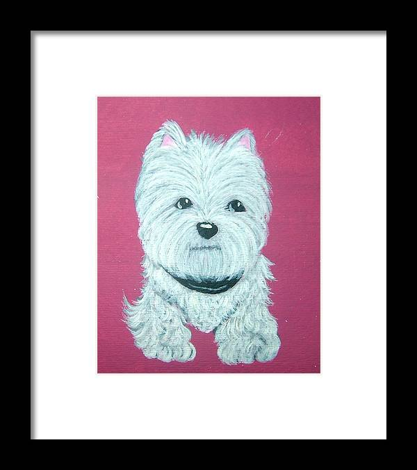 West Highland Terrier Framed Print featuring the painting Westie by Tammy Brown