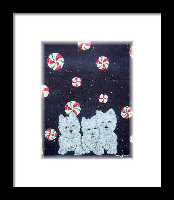 West Highland Terrier Framed Print featuring the painting Westies In Candy Land by Tammy Brown