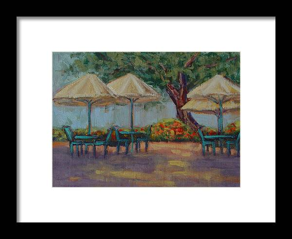 Plein Air Landscape Cafe Colorful Framed Print featuring the painting Westlake Village by Niki Reynolds
