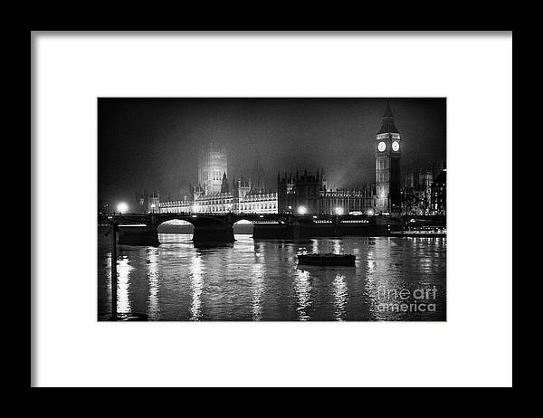 Westminster Palace Framed Print featuring the photograph Westminster Palace at Night by Aldo Cervato