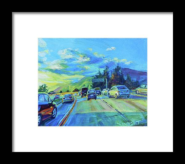 Freeway Framed Print featuring the painting Westward by Bonnie Lambert