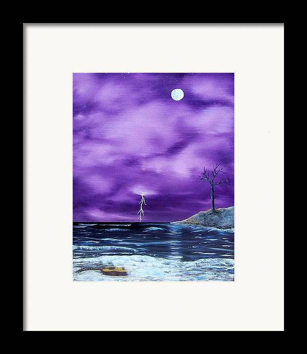 Surrealism Framed Print featuring the painting Wet Guitar by Tony Rodriguez