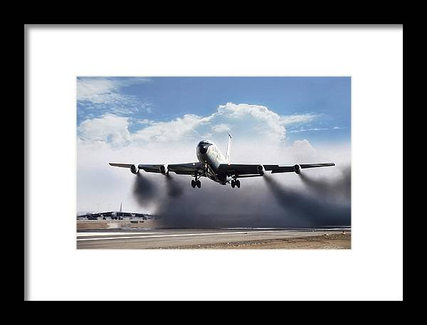 Aviation Framed Print featuring the digital art Wet Takeoff Kc-135 by Peter Chilelli