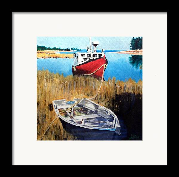 Ship Framed Print featuring the painting Wetland Taxi by Jim Phillips