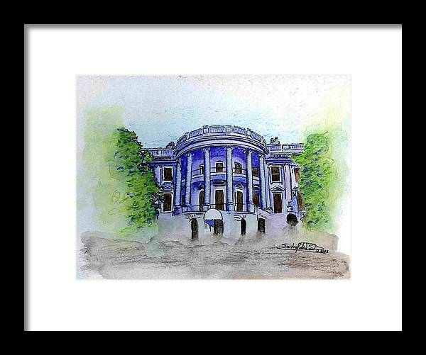 Pen & Ink Framed Print featuring the painting W.h. by Saundra Lee York