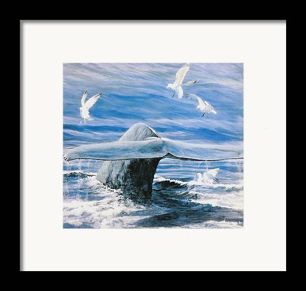Wildlife Framed Print featuring the painting Whale by Steve Greco