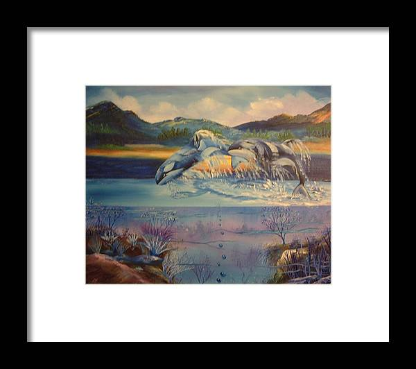 Whales Framed Print featuring the painting Whales One by Benito Alonso