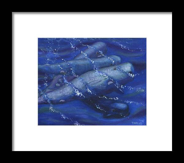 Whales Framed Print featuring the painting Whales under the Surface-Is that Moby Dick on the Bottom by Tanna Lee M Wells