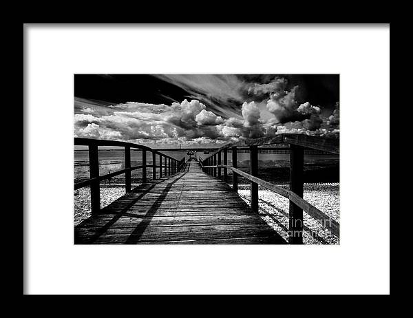 Southend On Sea Wharf Clouds Beach Sand Framed Print featuring the photograph Wharf at Southend on Sea by Sheila Smart Fine Art Photography