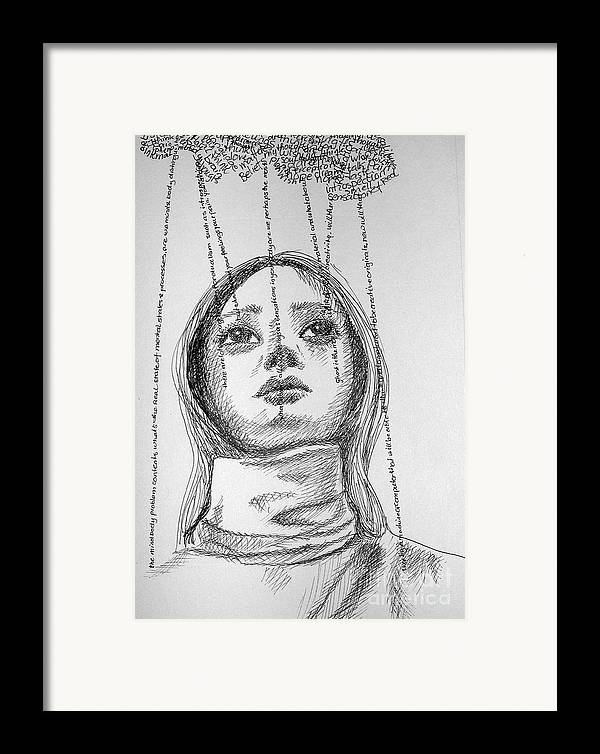 Philosophical Thoughts Framed Print featuring the drawing What About A Free Will by Tanni Koens