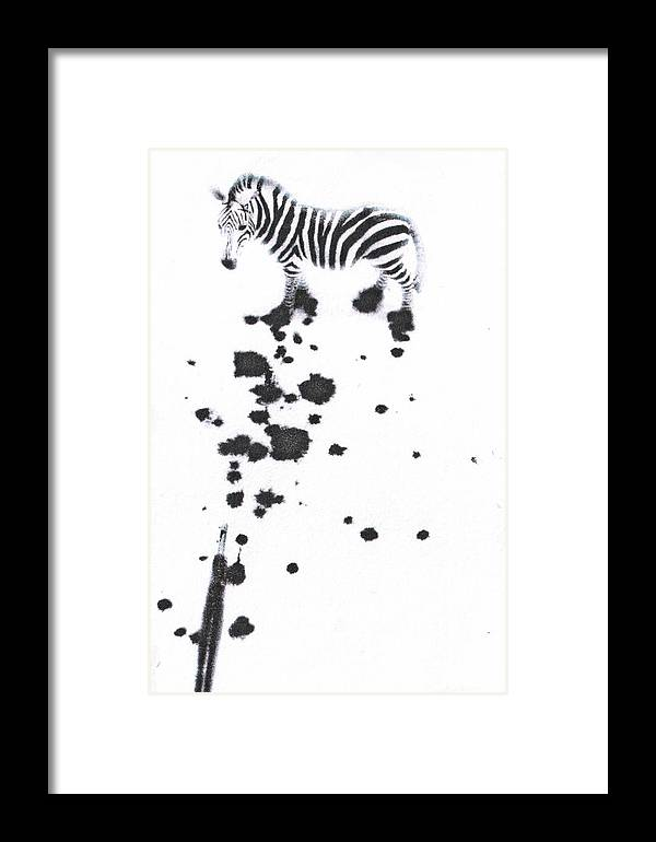 Zebra Framed Print featuring the mixed media What Are You by Kimberly Lavon