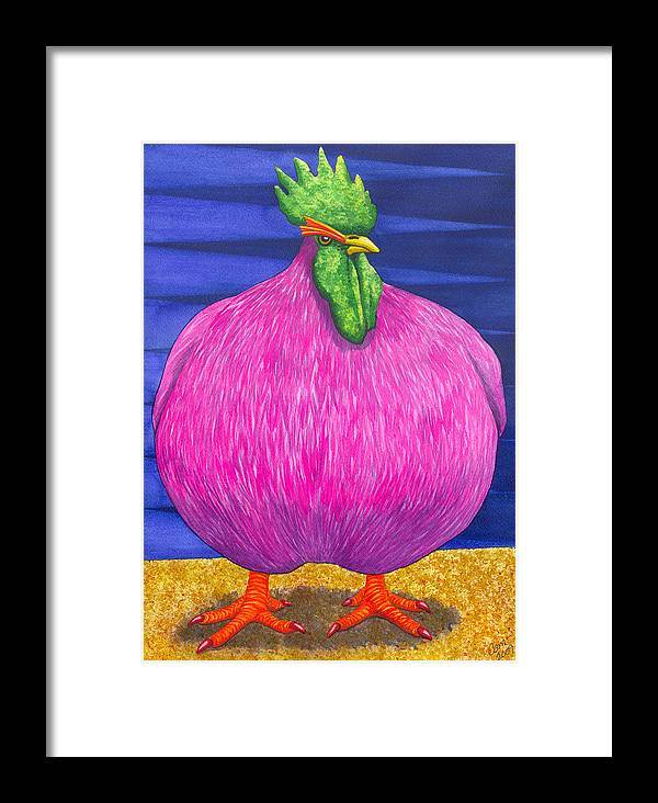 Rooster Framed Print featuring the painting What Are You Lookin At by Catherine G McElroy