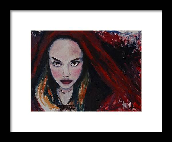 Little Red Riding Hood Framed Print featuring the painting What Big Eyes You Have by Khairzul MG