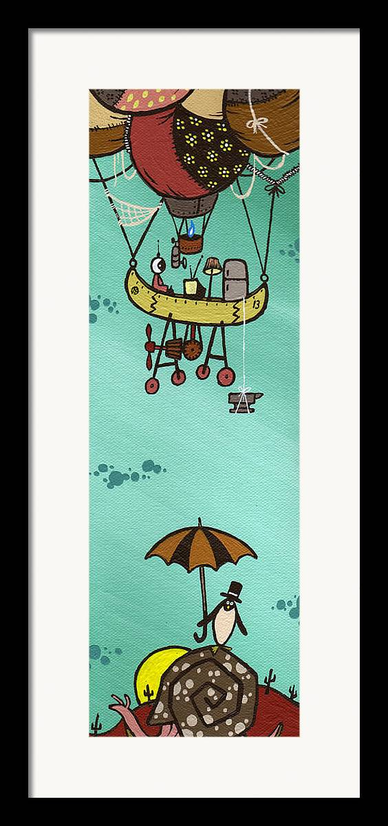 Baloon Framed Print featuring the painting What Goes Up.... by Dan Keough