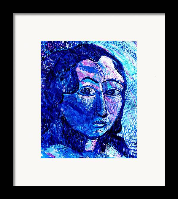 Blue Framed Print featuring the painting What Happens To Me Is What I Do by Rollin Kocsis