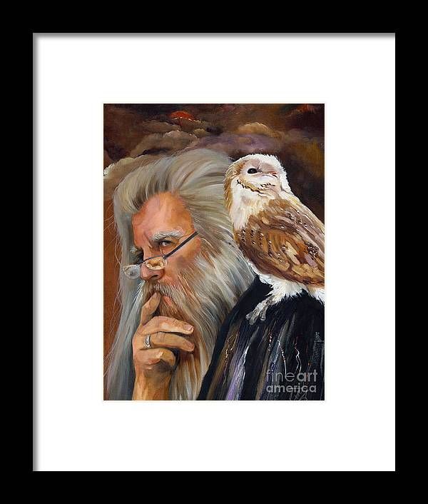 Wizard Framed Print featuring the painting What If... by J W Baker