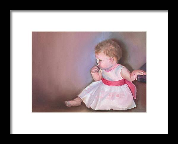 What If Framed Print featuring the painting What If by Mary Johnson