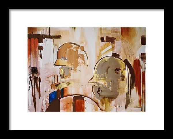 Abstract Framed Print featuring the painting What Is Identity by Stephen Lucas