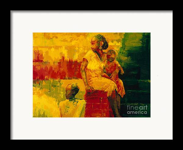 What Is It Ma? 1994 (oil On Board) By Bayo Iribhogbe (contemporary Artist) Framed Print featuring the painting What Is It Ma by Bayo Iribhogbe