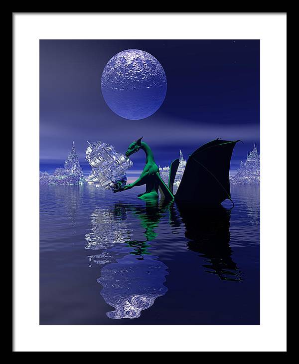 Bryce 3d Digital Fantasy Scifi Dragon Framed Print featuring the digital art What Is This by Claude McCoy