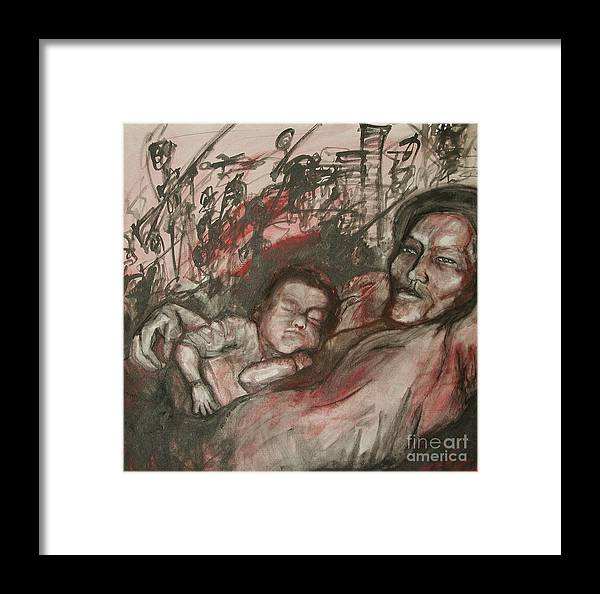 Child Framed Print featuring the painting What Matters by Sarah Goodbread