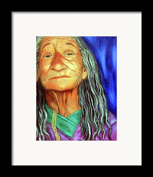 Native American Framed Print featuring the painting What She Went Through by Alima Newton