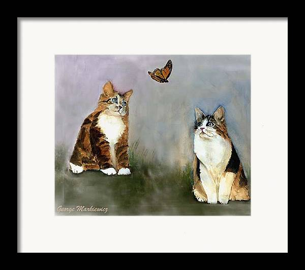 Cats Butterfly Framed Print featuring the print Whatzit by George Markiewicz