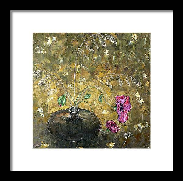 Still Life Framed Print featuring the painting Wheat And Poppy by Mila Ryk