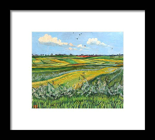 Wheat Framed Print featuring the painting Wheat Fields And Clouds by Vitali Komarov