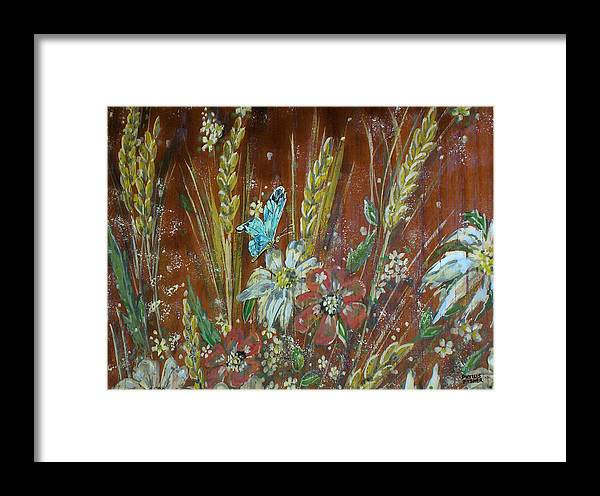 Flowers Framed Print featuring the painting Wheat 'n' Wildflowers I by Phyllis Mae Richardson Fisher