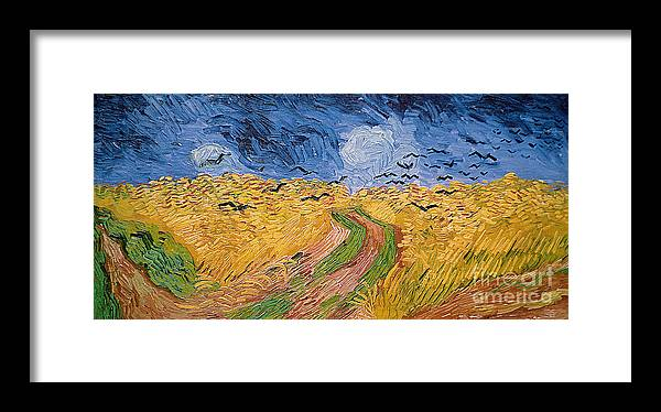Landscape;post-impressionist; Summer; Wheat; Field; Birds; Threatening; Sky; Cloud; Post-impressionism Framed Print featuring the painting Wheatfield With Crows by Vincent van Gogh