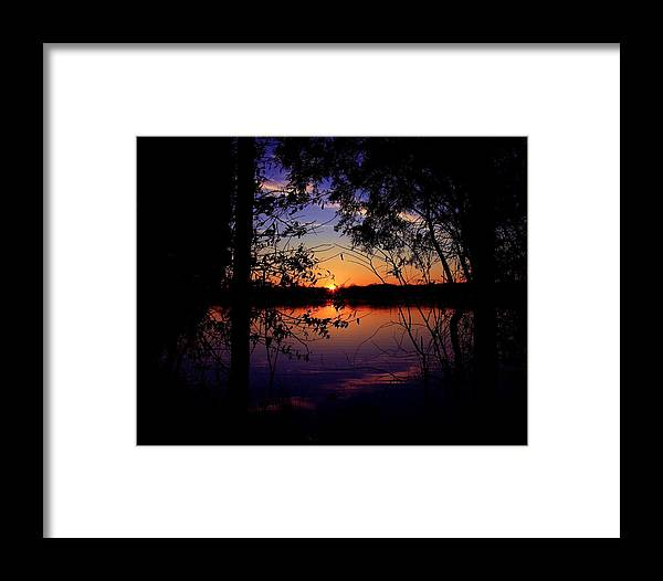 Nature Sunset Lake Darkness Shadows Sun Sky Reflection Framed Print featuring the photograph When Darkness Comes by Mitch Cat