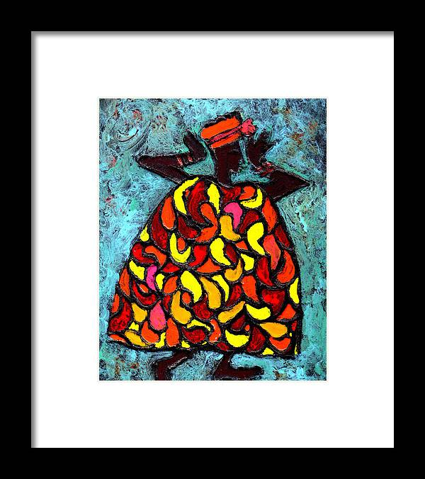 Black Art Framed Print featuring the painting When Moma's Happy by Wayne Potrafka