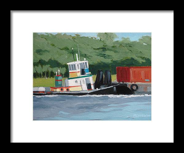 Work Boat Tug Waterscape Framed Print featuring the painting When Push Comes To Shove by Robert Rohrich