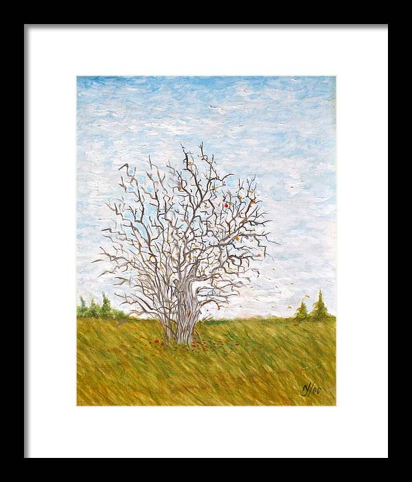 Tree Framed Print featuring the painting When The Apples Are Gone by Norman F Jackson