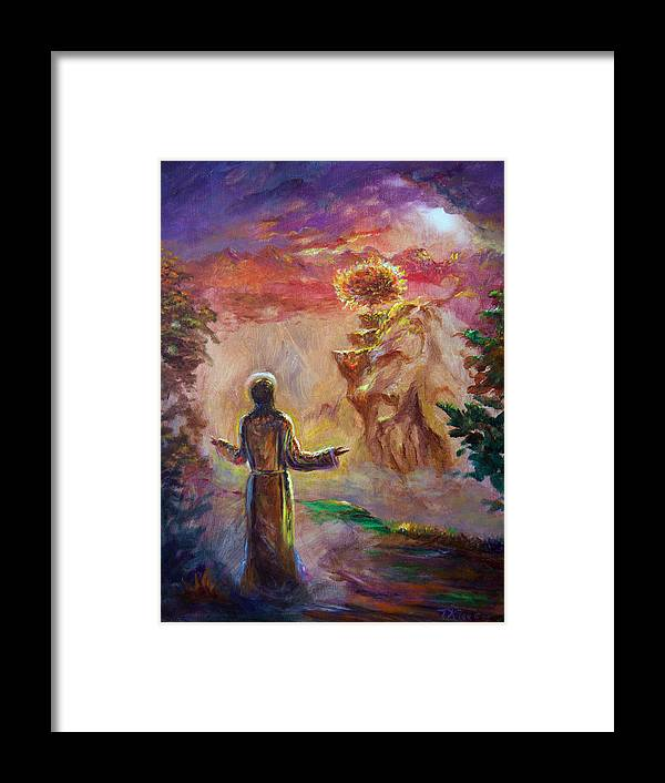Holy Spirit Framed Print featuring the painting when the Lord called Moses by Tommy Winn